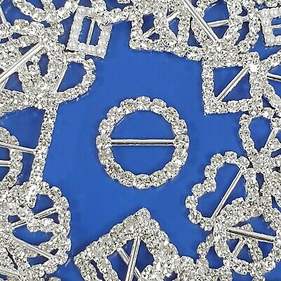 10x DIAMANTE BUCKLE Crystal Clear Rhinestone Strap Slider Fits Up To 15mm Ribbon • 7.99£