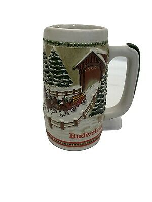 $ CDN26.17 • Buy 1984 Budweiser Holiday Christmas Clydesdale Horse Stein Ceramarte Covered Bridge