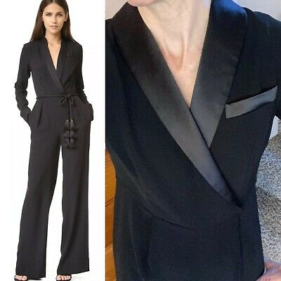 $99 • Buy RACHEL ZOE Tuxedo Jumpsuit Sz 4  Satin Lapel Tux Black Suit