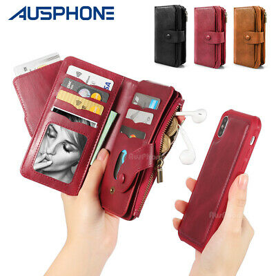 AU21.99 • Buy For IPhone 11 Pro Max XS XR X Detachable Leather Zipper Wallet Card Case Cover