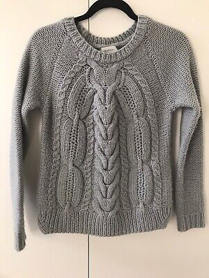 AU5 • Buy Witchery Chunky Grey Cable Knit Jumper Sweater Size 6