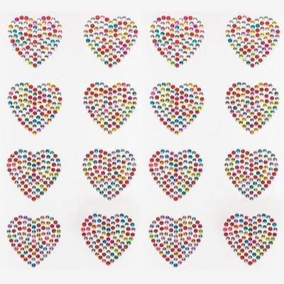 Rainbow Heart Crystal Stickers X4 Gem Card Making Journal Diary Scrapbook Xmas  • 2.25£
