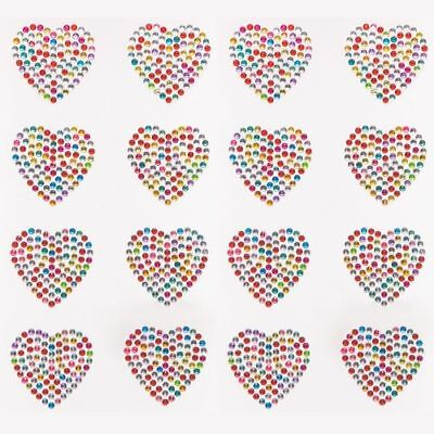 Rainbow Heart Crystal Stickers X4 Gem Cardmaking Easter Journal Diary Scrapbook  • 2.35£