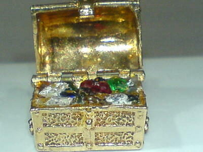 Collectors 9ct Gold Hallmarked Treasure Chest  With Real Diamonds Charm Pendant • 295£