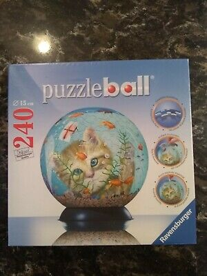$8.50 • Buy RAVENSBURGER Kitty Entertainment 240 Pc 3D Jigsaw Puzzle Ball Puzzleball Kitten