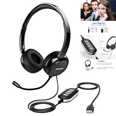 Mpow 3.5mm USB Stereo Computer Headset Headphones Microphone For Skype PC Laptop • 24.90£