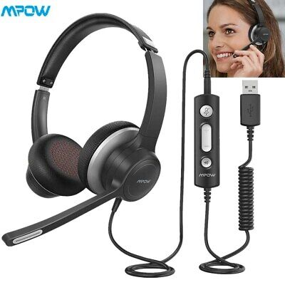 Mpow HC6 3.5mm USB Headphones Computer Headset With Mic For Call Center Skype PC • 26.03£