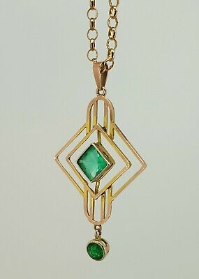9ct Rose Gold Emerald Paste Edwardian / Deco Pendant. Great Condition.  NICE1 • 135£