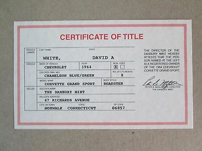 $12 • Buy Danbury Mint Paperwork 1964 Chevy Corvette Grand Sport Roadster