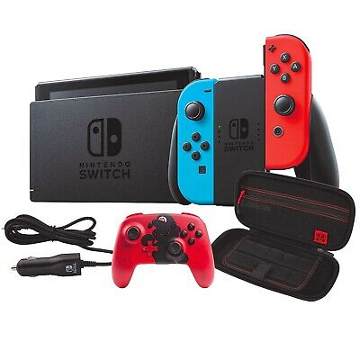 $469.99 • Buy Nintendo Switch Neon Red Blue Console HAC-001 Bundle + Case + Controller +Extras