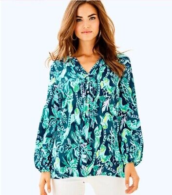 $50 • Buy Lilly Pulitzer Harbour Island Tunic L Tidal Wave In The Details, NWOT