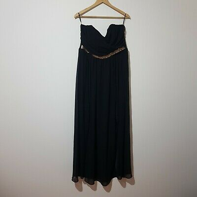 AU35 • Buy Asos Size 18 Black Ballgown With Gold Beaded Waist Band