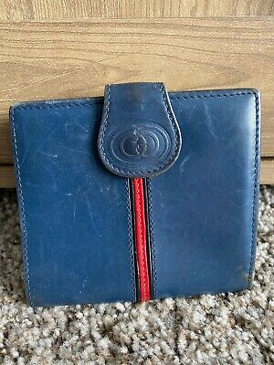 $139 • Buy Vintage Gucci Red Striped Kisslock Bifold Wallet Rare Navy Leather Mini Clutch