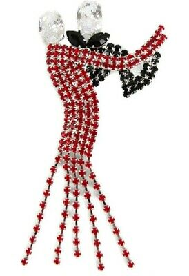 Beautiful Dancing Couple Brooch With Red & Black Crystal • 12£