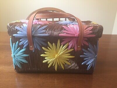 $28.99 • Buy Kate Spade New York Woven Straw Pastel Flower Box Purse Handbag EXCELLENT COND!