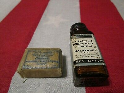 $9.99 • Buy WW2 USMC Jungle First Aid Kit 1943 Wax Coated Bandage Water Purifying Tablets