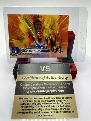 $74.96 • Buy Zion Williamson Duke Blue Devils ON CARD AUTOGRAPH With COA Rookie Basketball