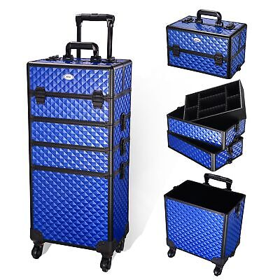 $121.95 • Buy 4 In1 Professional Aluminum Rolling Makeup Train Case Wheel Cosmetic Box Stroge