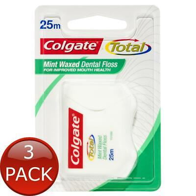 AU19.32 • Buy 3 X COLGATE TOTAL MINT WAXED DURABLE ORAL CARE DENTAL FLOSS 25M