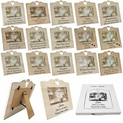 £8.75 • Buy Wooden Heart Sentiment Photo Frame Love Home Family Shabby Chic Picture 6  X 4