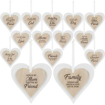 Wooden Heart Door Hanging Sign Wall Plaques Home Family Love Sentiment Gift • 2.75£