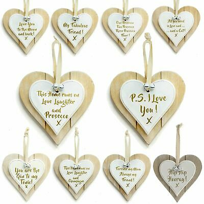 Wooden Heart Door Hanging Sign Wall Plaques Home Alcohol Party Special Gift Idea • 2.95£