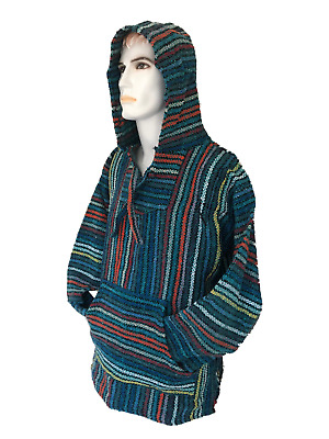 Hoodie Mexican Baja Jerga Drug Rug Jumper Festival Surf Hippie Multi Colours • 19.99£