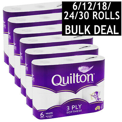 AU11.95 • Buy Quilton Toilet Paper Tissue Rolls Soft Sanitary 3 Ply 180 Sheets 6/12/18/24/30