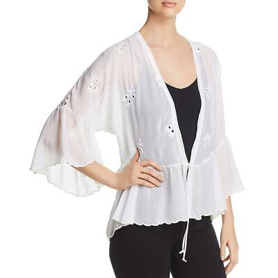 $50 • Buy Johnny Was Womens White Ruffle Eyelet Tie Front Kimono Blouse XS BHFO 2629