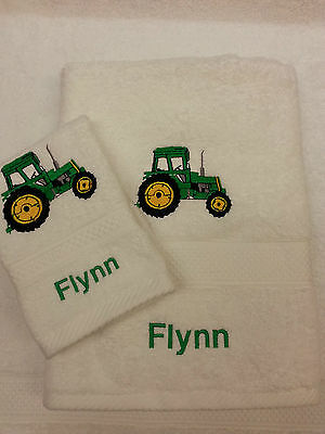 Personalised Green Tractor Towel Set Christmas Gift Hand Towel And Face Cloth • 14£