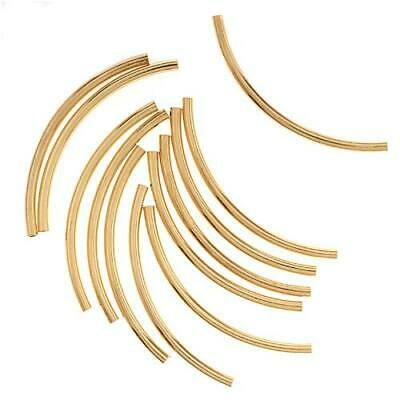 $7.25 • Buy Gold Plated Curved Noodle Tube Beads 2mm X 38mm (12)