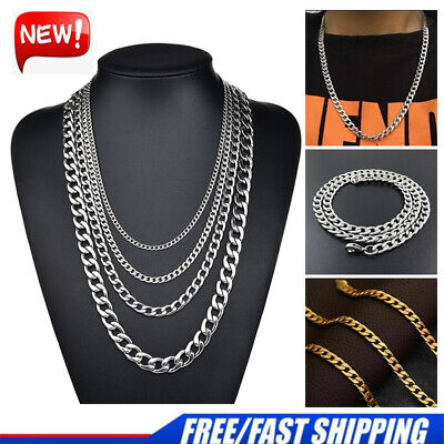 Mens & Boys Stainless Steel Silver Gold Curb Link Pendant Chain Chunky Necklace • 5.69£