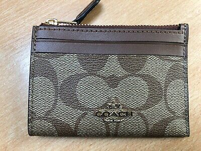 COACH New York Signature Skinny Mini ID Card Holder Purse Wallet Leather RRP £85 • 34.99£