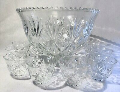 Vintage Anchor Hocking Arlington Glass Punch Bowl Set With Cup Ladle & Hooks • 31.93£