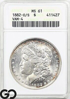$9.95 • Buy 1882-O/S MS61 Morgan Silver Dollar Coin ANACS Mint State 61 ** Vam-4, Tough!
