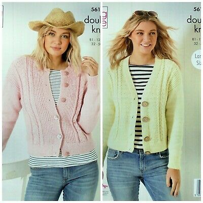 KNITTING PATTERN Ladies Round & V-Neck Cable Cardigans DK King Cole 5616 • 3.95£