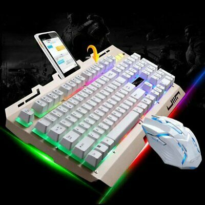 Pro Gaming Wired RGB Colorful LED Backlit Keyboard & Mouse Computer PC Light Up • 23.24£