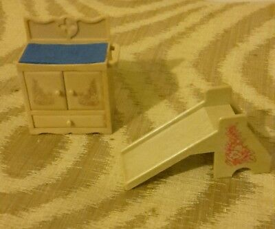 Sylvanian Families Vintage 90s Nursery Changing Table Slide Decorated Set  • 8.99£