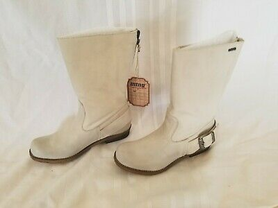 $29.99 • Buy MTNG Bill Hielo Off White Leather Mid-calf Boots ~ Size 40/US 9-9.5 ~ Brand New
