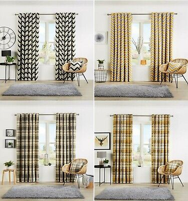 Ready Made Fully Lined Eyelet Ring Top Designer Pair Of Light Reduce Curtains • 19.97£