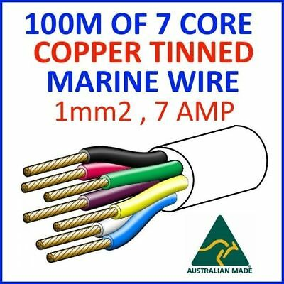 AU250 • Buy 100M OF 7 CORE 1mm2 32/0.2 WIRE MARINE TINNED COPPER TRAILER CABLE BOAT 12V TWIN
