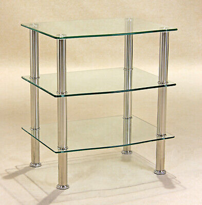 Display Stand TV Stand DVD Hi-Fi Game Console Unit Three Shelf Clear Glass • 65.88£