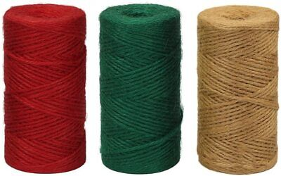 Natural Green Red  3 PLY  Brown Soft Jute Twine Sisal String Rustic Cord Hessian • 1.79£