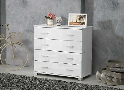 White High Gloss Chest Of 4 Drawers Cabinet • 67.99£