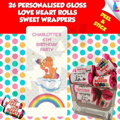 26 Personalised Care Bears Love Heart Rolls Birthday Party Wrappers • 2.10£