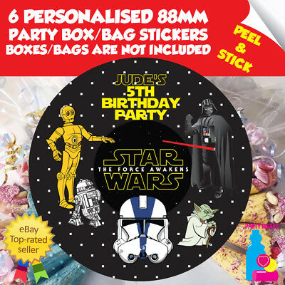£2.10 • Buy 6 Personalised Star Wars Birthday Party Box Or Bag Self Adhesive Stickers