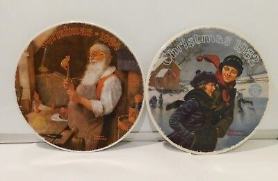 $ CDN10.67 • Buy Vintage Santa Christmas Set Of 2 Plates Norman Rockwell
