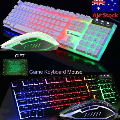 AU27.59 • Buy T6 Gaming Keyboard And Mouse Set For PC Laptop Rainbow Backlight Usb Ergonomic