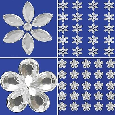 £2.50 • Buy Small-Large DIAMANTE SILVER FLOWER STICKERS Self Adhesive Craft Scrapbook Card