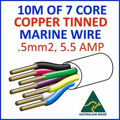 AU30 • Buy 10M OF 7 CORE .5mm2 16/0.2 WIRE MARINE TINNED COPPER TRAILER CABLE BOAT 12V TWIN